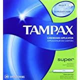 Tampax Cardboard Applicator Tampons, Super Absorbency, Unscented, 20 Count - Pack of 4 (80 Total Count) (Tamaño: 20 Count (Pack of 4))