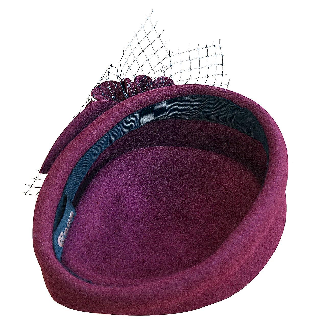 Wine Red Women Fascinator Pillbox Felt Wool Hat Formal Dress Flower Veil A131 5