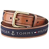 Tommy Hilfiger Men's Ribbon Inlay Belt, Navy, 40