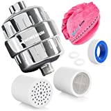 HomeRium 15 Stage Universal Shower Filter & Red Microfiber Hair Towel | 2 Replacement Filter Cartridges | Water Softener For All Shower Head | Shower Filters For Hard Water, Chlorine, Fluoride, Nickel