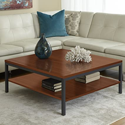 Parsons Edition Square Coffee Table with Shelf in Cherry