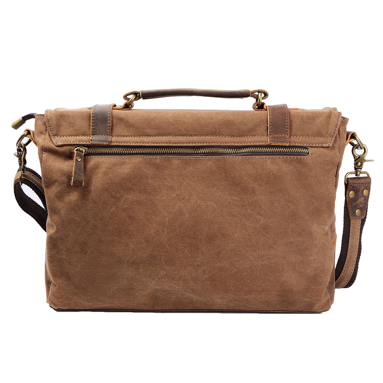 S ZONE Vintage Canvas Leather Messenger Traveling Briefcase Shoulder Laptop Bag 2