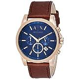 Armani Exchange Men's AX2508 Brown  Leather Watch (Color: Blue)