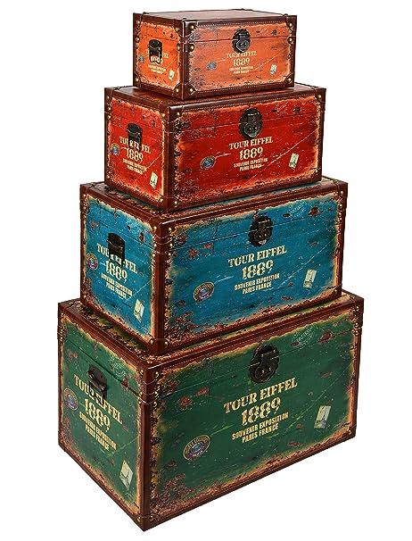 ts-ideen 4er Set Reisekoffer TOUR EIFFEL 1889 als Kommode Truhe Box Holztruhen Antik Shabby Vintage Holzkiste
