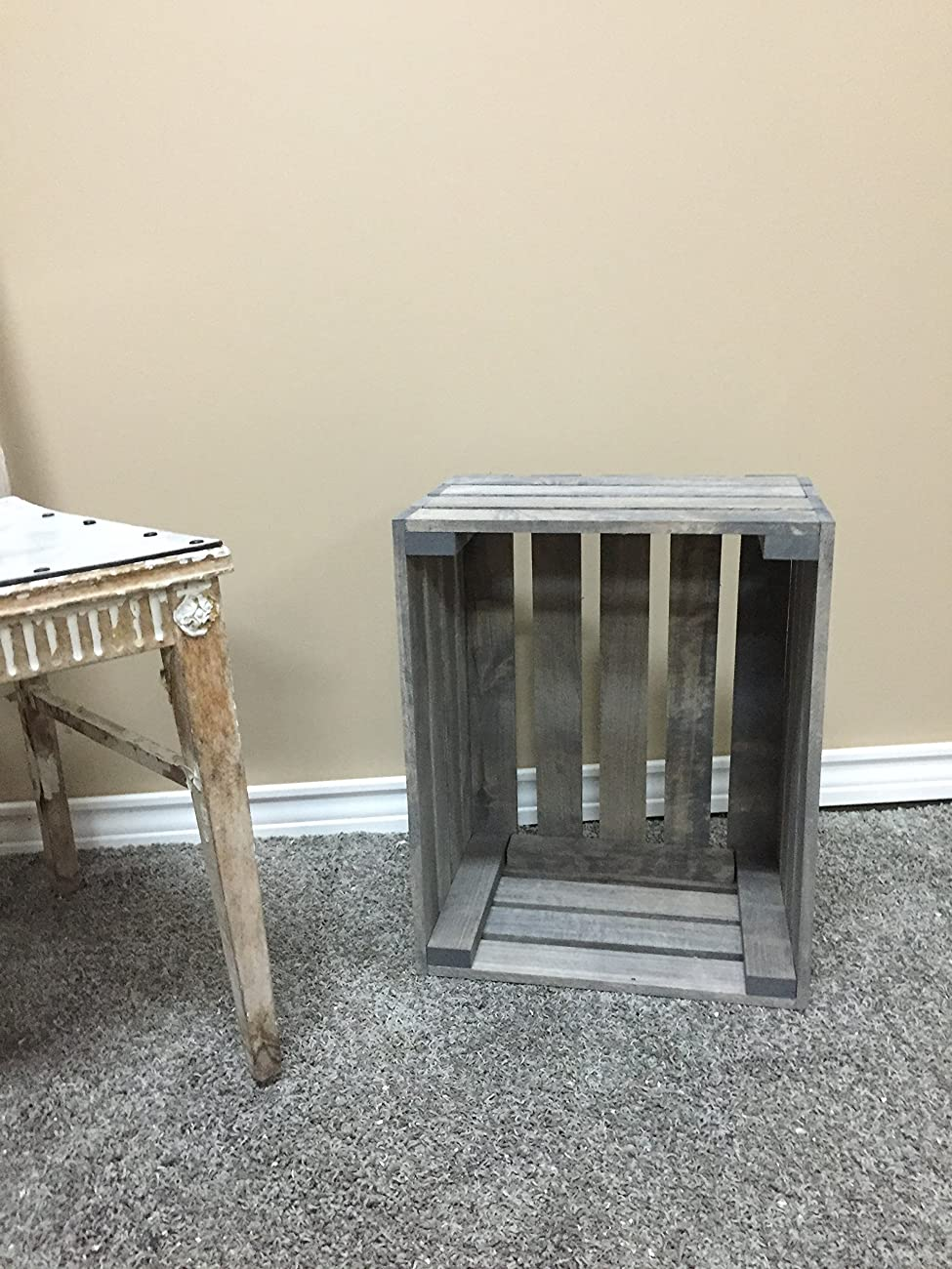 Antique Gray Stained Rustic Wood Crate 2