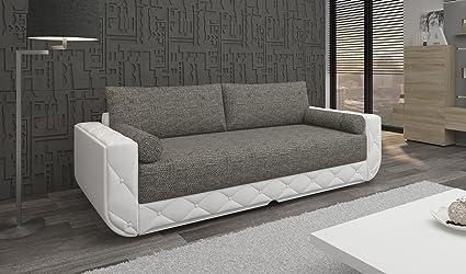 TOP Schlafsofa Sofa Couch hellgrau weiss Schlaffunktion Funktionssofa JULIA 3 SF