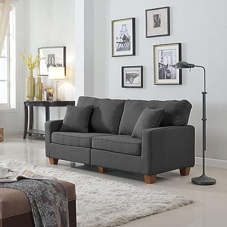 Classic 73-inch Love Seat Living Room Linen Fabric Sofa in Colors Beige, Brown, Light Grey and Dark Grey (Dark Grey)