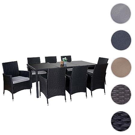 Poly-Rattan-Garnitur Terni, Garten Sitzgruppe Tisch + 8 Sessel, Alu ~ anthrazit, Kissen hellgrau