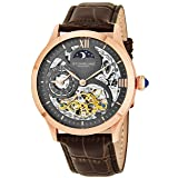 Stuhrling Original Mens Rose Gold Tone Stainless Steel Automatic Watch, White Skeleton Dial, Rose Gold Accents, Dual Time, AM/PM Sun Moon, Brown Leather Band, 571 Series (Color: Rose Gold)