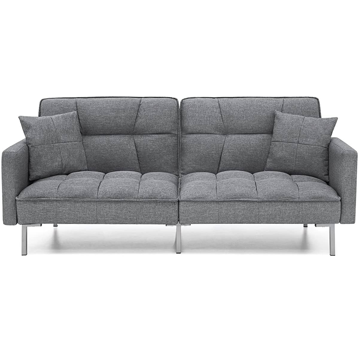 Best Choice Products Living Room Convertible Linen Fabric Tufted Splitback Futon Couch Furniture w/Pillows - Dark Gray