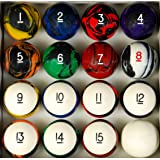 Pool Table Billiard Ball Set, Tech Style (Color: Tech Style, Tamaño: 2 1/4