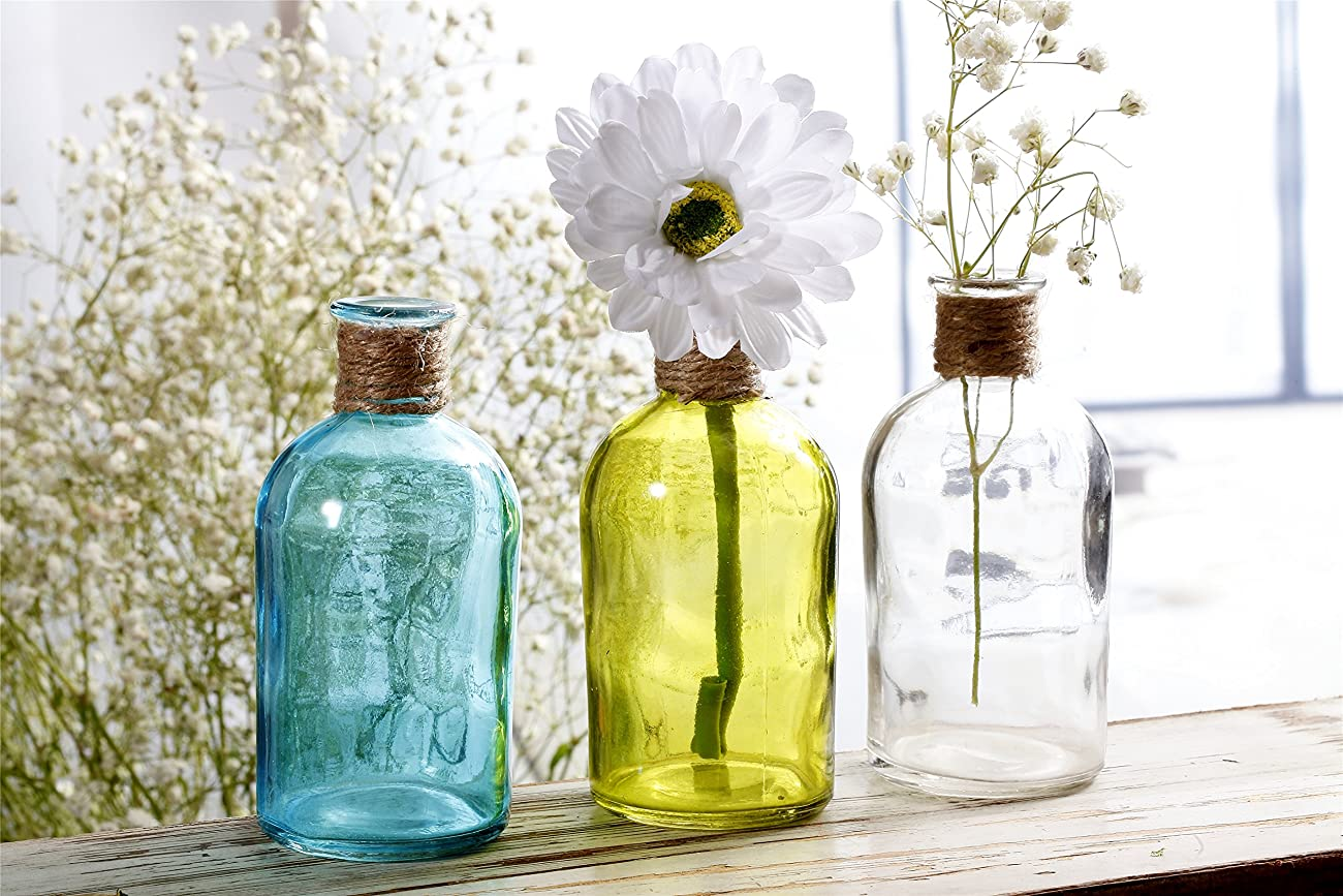 V-More Small Vintage Glass Bottle Flower Bud Vase with Jute Rope, Multicolored, 5.3-inch Tall, For Home Decor, Wedding, Party, Celebration【Set of 6 (2 Light Blue + 2 Yellow + 2 Clear)】 0