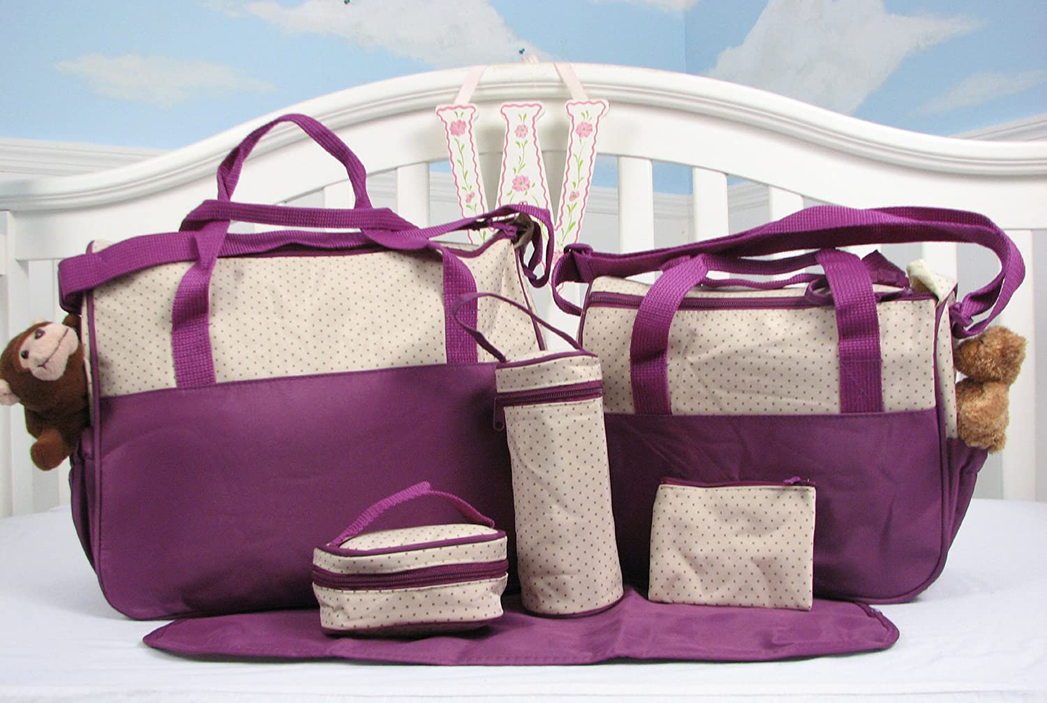 Amazon.com : SoHo- Lavender Diaper bag with changing pad 6 pieces set : Diaper Tote Bags