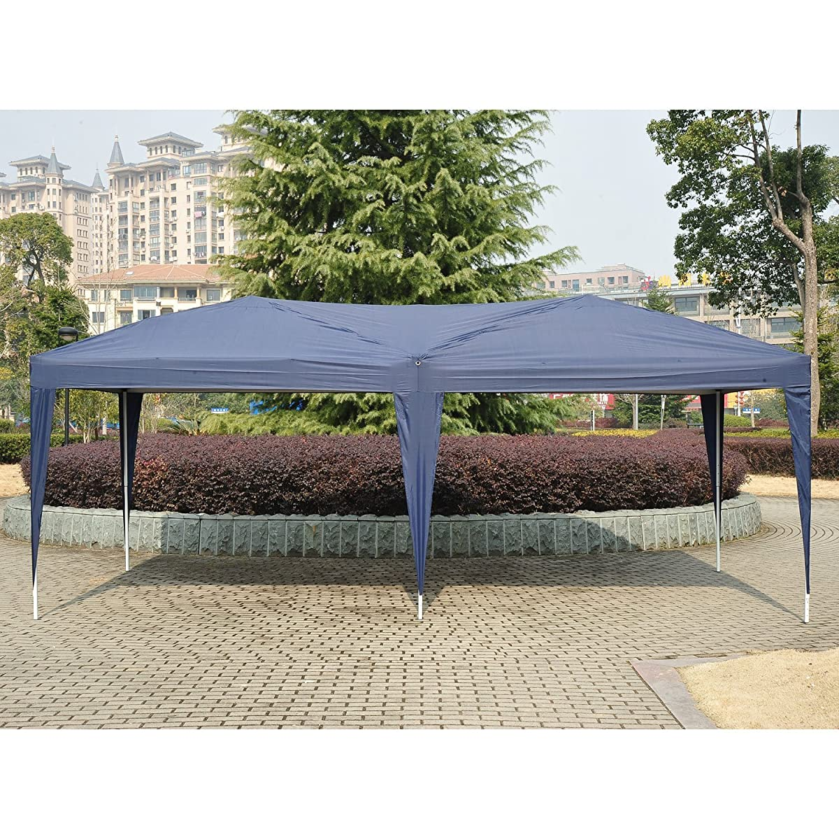 Outsunny 10 x 20 Easy Pop Up Canopy Party Tent - Navy Blue w/ 4 Removable Sidewalls