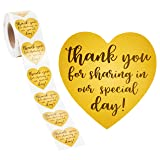 Thank You Stickers - 500-Count Wedding Favor Sticker Labels, Thank You for Sharing in Our Special Day Stickers, Heart-Shaped Sticker Roll for Baby Shower, Wedding, Birthday, Gold, 1.5 Inches Diameter (Color: Gold)