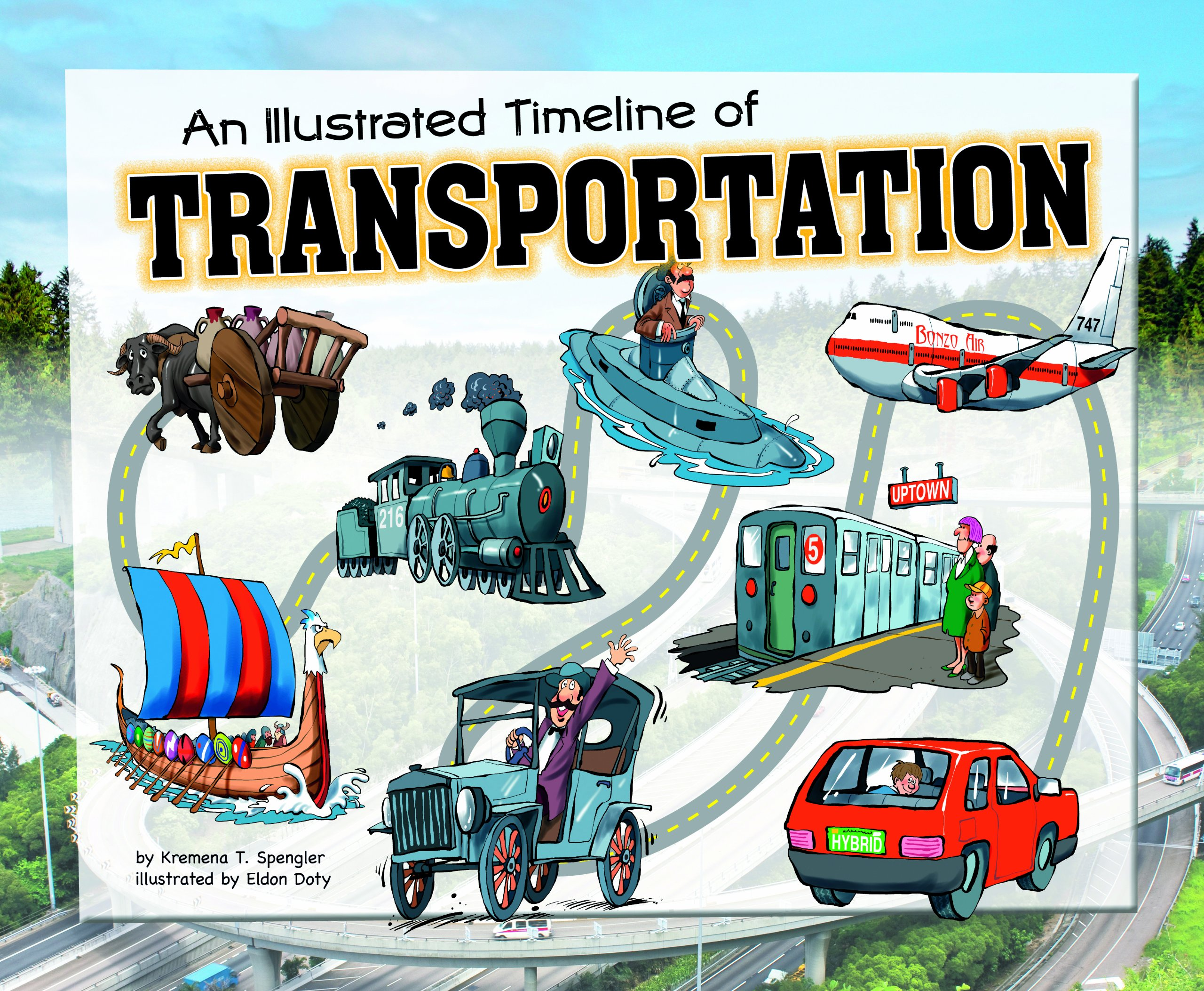 reviews an illustrated timeline of transportation visual timelines