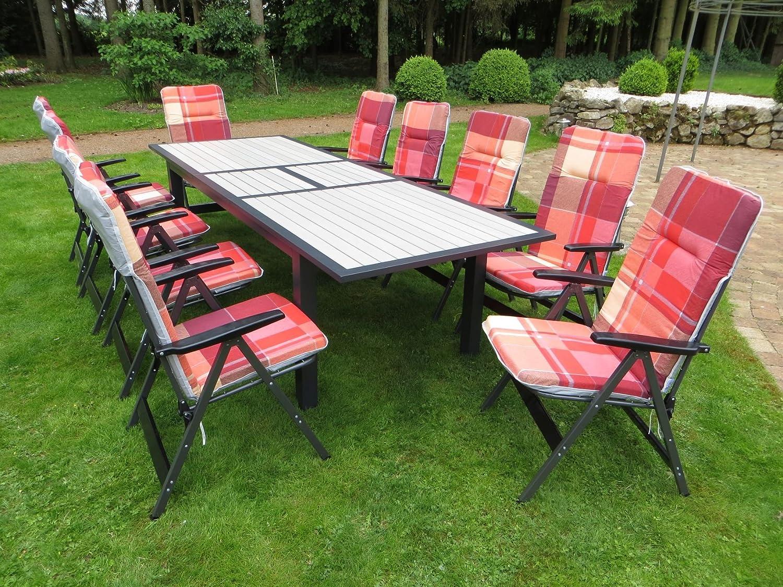 21-teilige XXL Luxus Aluminium Polywood Gartenmöbelgruppe