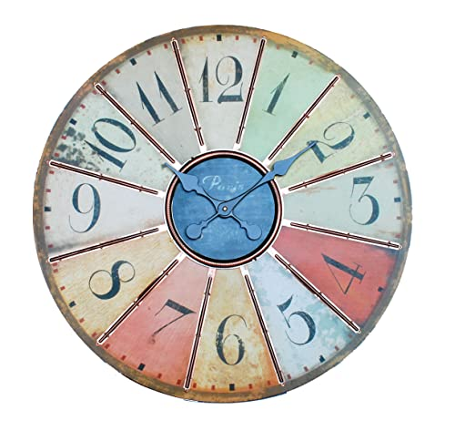 Ashton Sutton GT1067 Large Multi Colored Wall Clock