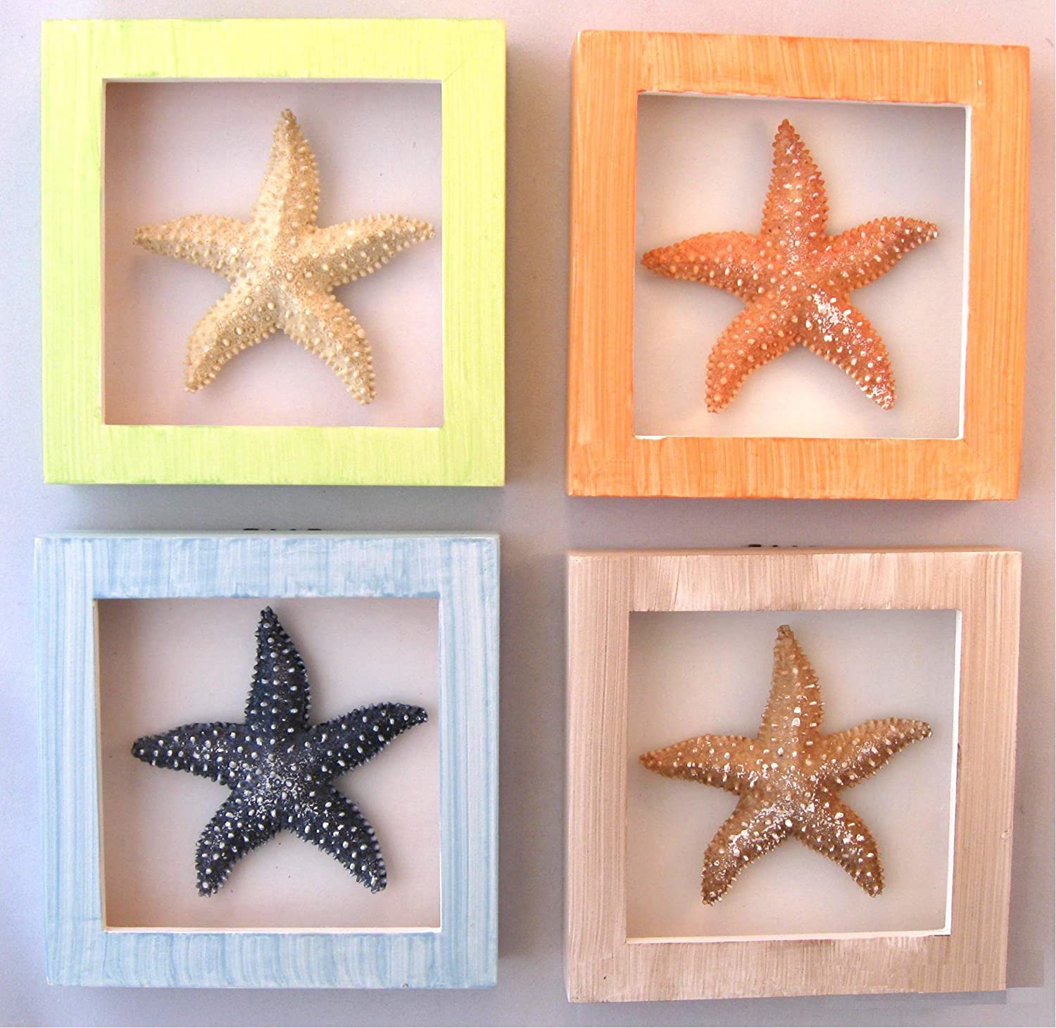 Set 4 Shadow Boxes Starfish Tropical Beach Decor CHECK PRICE