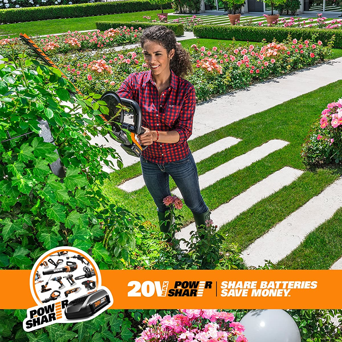 "WORX WG255.1 20V Cordless Hedge Trimmer, 20"", Battery and Charger Included"