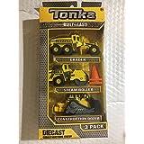 Tonka Diecast Construction Crew 3 Pack: Grader Steam Roller, Construction Dozer, with 2 Bonus Pylons