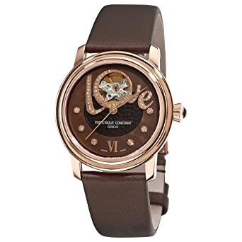 Frederique Constant Women's FC310CLHB2P4 Ladies Automatic Brown Open Diamond Dial Watch
