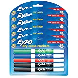 EXPO Low Odor Dry Erase Markers, Fine Tip, Assorted Colors, 6 Packs of 4 (24 Count) (Color: Assorted Colors, Tamaño: 24-Count)