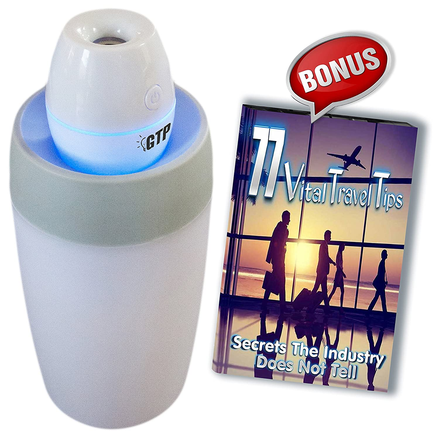 GTP USB Mini Personal Travel Cool Mist Portable Room Humidifier No Filter - BONUS 77 Secret Travel Tips eBook - Keeps Air Moist - Helps You Stay Healthy Year Round