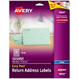Avery Matte Frosted Clear Return Address Labels for Inkjet Printers, 1/2