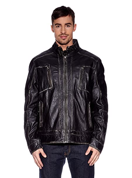 Tom Tailor Lederblouson, Herren Fog (black)