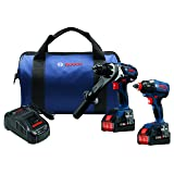 Bosch GXL18V-225B24 18V 2-Tool Combo Kit with Brute Tough 1/2 In. Hammer Drill/Driver and 1/4 In. and 1/2 In. Two-In-One Bit/Socket Impact Driver (Color: Blue)