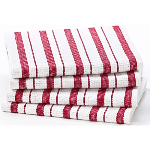 Cotton Craft - 4 Pack Oversized Kitchen Towels 20x30 - Red Pure 100% Cotton Crisp Basket weave striped pattern Convenient hanging loop - Highly absorbent Professional Grade Soft yet Sturdy