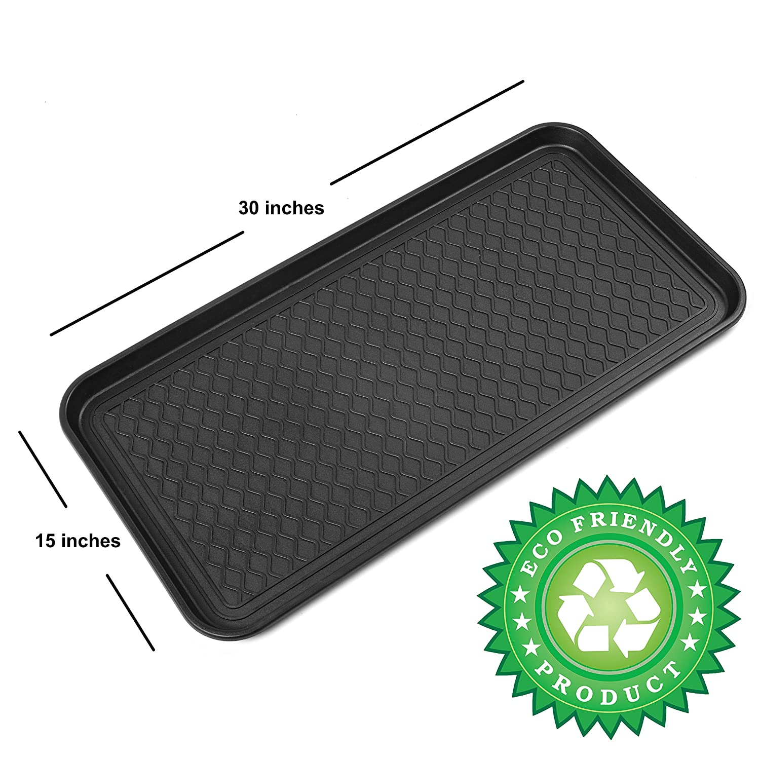 Premium Eco Friendly Multi-Purpose Boot Mat & Tray for Cat Litter, Dog Food Bowls, Paint, Shoes Gardening & More - 30''x15''x1.2'' - Indoor & Outdoor Mat for Floor Protection or Trunk Cargo - Utility Tray for Pantry ..