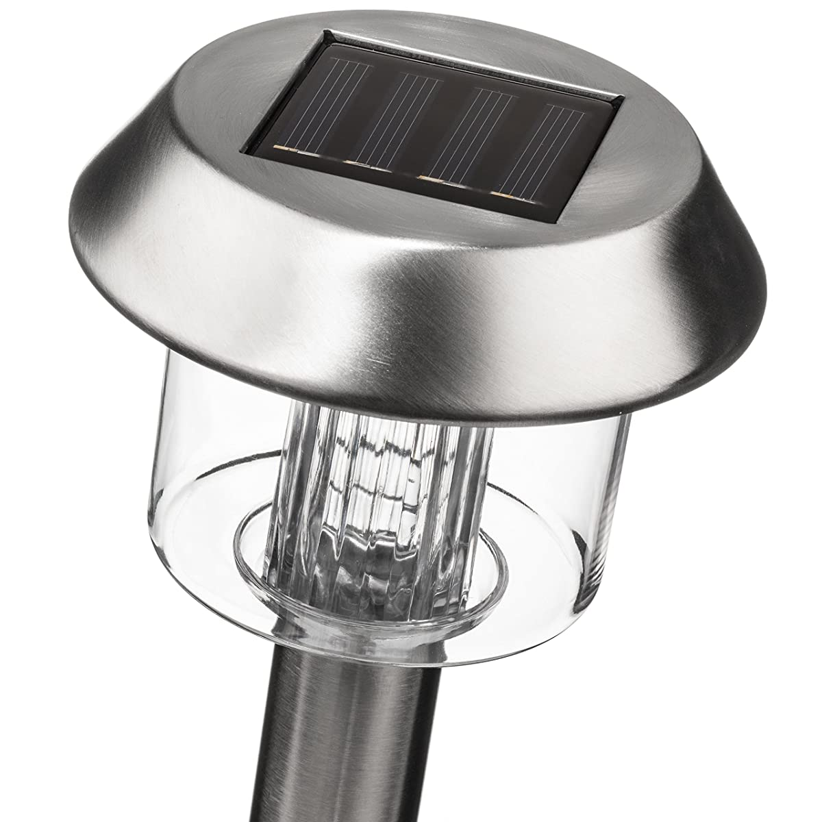 SolarGlow Stainless Steel LED Solar Garden Lights, 15 Lumens, Bright White, Waterproof (6 Pack)