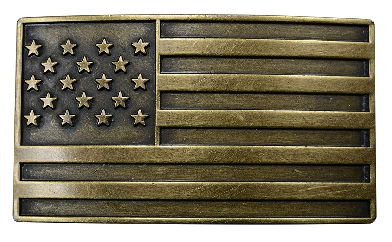 FL103-50MM Men's Vintage Steampunk Brass USA Flag Plaque Buckle fits 1.5