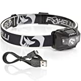 Foxelli USB Rechargeable Headlamp Flashlight - 180 Lumen, up to 40 Hours of Constant Light on a Single Charge, Bright White Led + Red Light, Compact, Easy to Use, Lightweight & Comfortable Headlight (Color: Black)