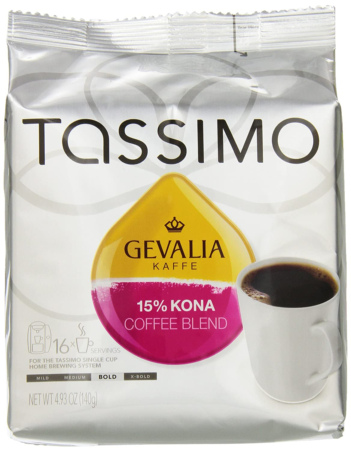 tassimo gevalia 15 kona coffee blend t discs bag 16 count ounce new fr ebay. Black Bedroom Furniture Sets. Home Design Ideas