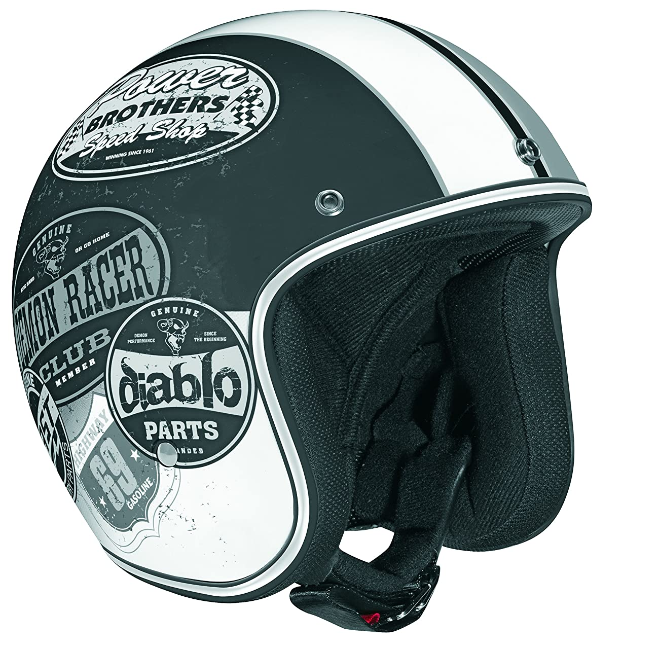 Vega X-380 Open Face Helmet with Old Skool Graphic (Flat Black/Monochrome, Medium) 0