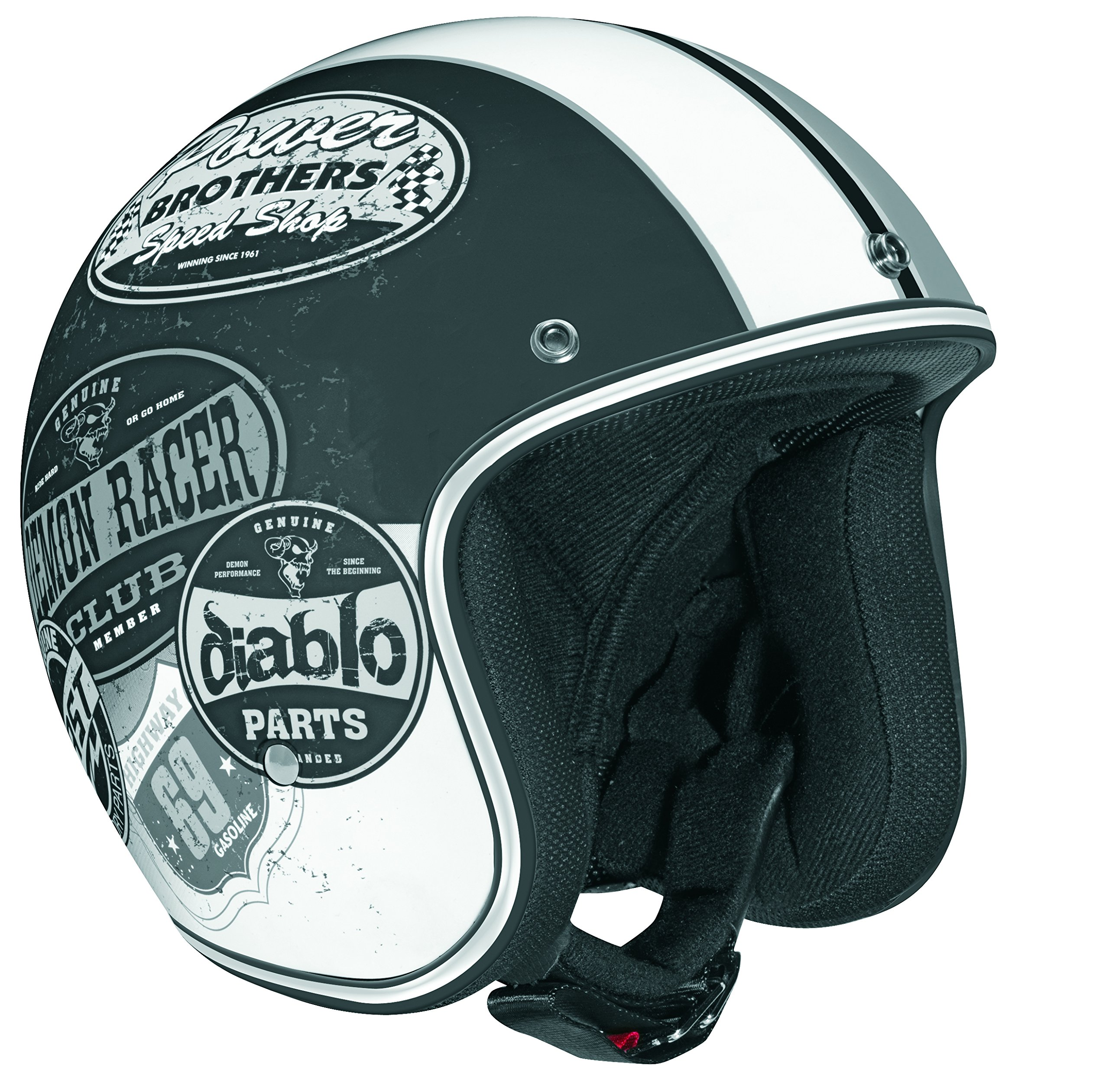 Vega X 380 Open Face Helmet With Old Skool Graphic Flat