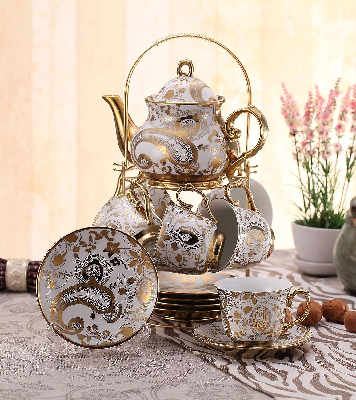 ufengkeWhite And Gold Flower 13 European Retro Titanium Ceramic Tea Set Tea Service For Wedding 0