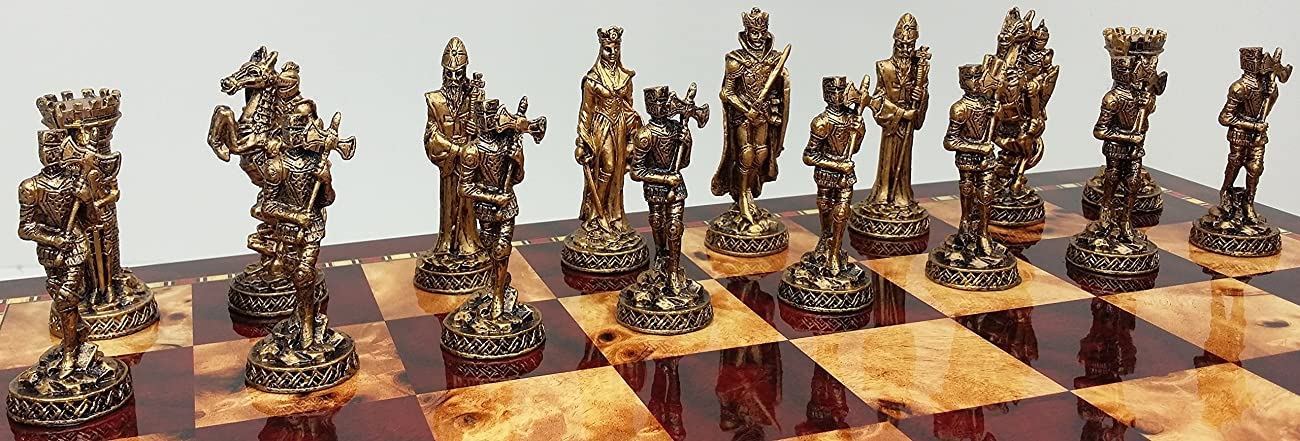 Medieval Times Crusades Knight Pewter Metal Chess Men Set Antique Gold and Silver Finish - NO BOARD 1