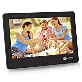 Arzopa 7-inch IPS Widescreen Digital Photo Frame HD 1024x600(16:9) Support MP3 MP4 Video Player Calendar Function Random Playback Mode with Remote Control (Black)