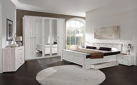 Armario 4/5/6 con puertas blancas y efecto roble con espejo de Chalet, muebles de habitación Chalet , White Oak Effect, 5 Door Wardrobe