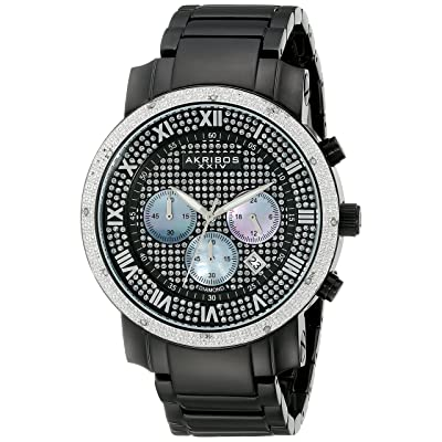 Akribos XXIV Men's AKR439BK Grandiose Dazzling Diamond Black Chronograph Watch