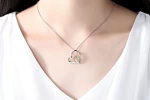 5cddf87aebd88 Cuoka S925 Sterling Silver Women Necklace Love Heart with Gold Owl ...