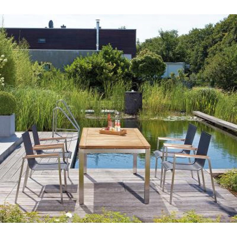Sonnenpartner Gartentisch System Base Pure Edelstahl Teakholz natur 160 x 90 cm