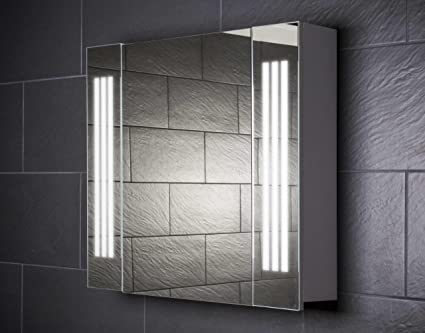 Galdem Loft 80 Mirrored Bathroom Cabinet 80cm / 1 Door / Trendy Lighting T5 Fluorescent Lamp / Soft Close Function / Plug Socket / Also Suitable for Hallway
