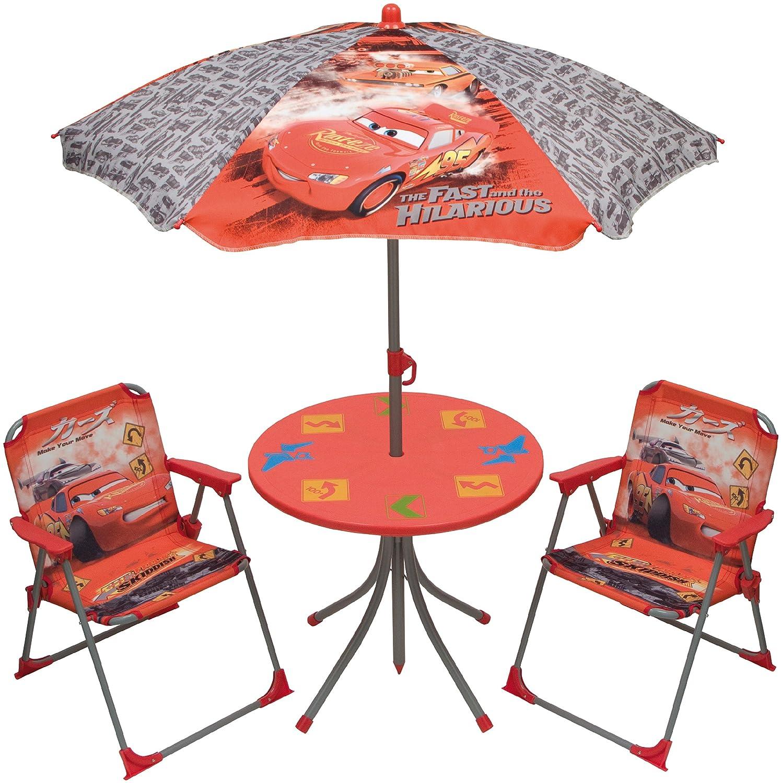 Disney Cars Gartengarnitur Kinder Sitzgruppe Tisch + Stühle + Schirm 4tlg. Set günstig