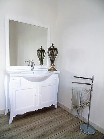 Arredo bagno bianco opaco con lavabo in ceramica 105 cm shabby chic con fiore intagliato