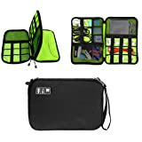 Double Layer USB Cable Hard Drive Case Electronics Accessory Organizer iPad Tablet Cellphone Cord Shuttle SD Card Reader Holder Travel Carrying Storage Bag Headphone Charger Clutter Protection Case (Color: Double Layer-Black, Tamaño: one size)